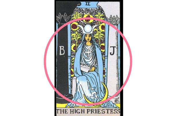 2つの柱の前に女教皇が座っている意味