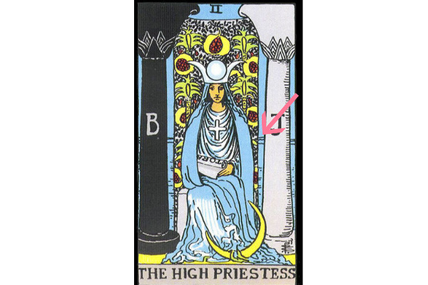 女教皇の後ろにある青い背景(海)の意味