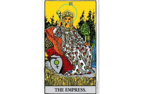 女帝が頭にかぶっている「ギンバイカの花輪」と「星の冠」