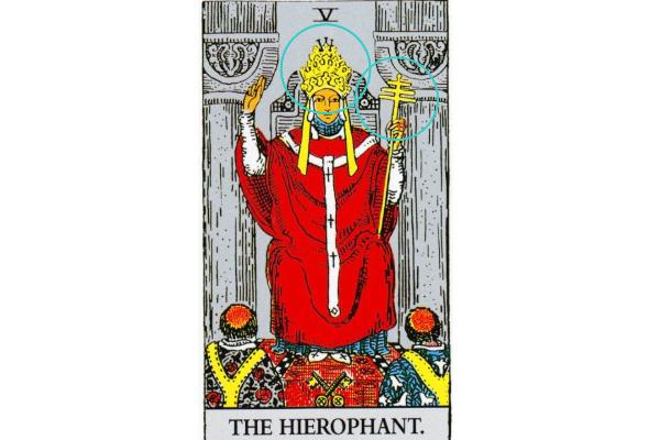 法王が左手に持っている「十字架」と頭にかぶっている「三重冠」の意味