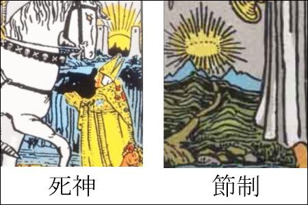 死神と節制の背景の太陽