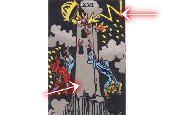 描かれている塔(タワー)と稲妻(雷)